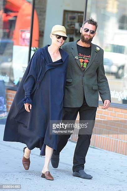 Actress Tilda Swinton and Sandro Kopp are seen walking in Soho on June 7 2016 in New York City