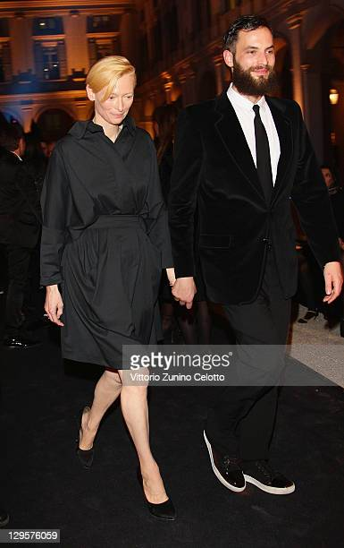 Actress Tilda Swinton and Sandro Kopp attend the Vertu Global Launch Of The 'Constellation' at Palazzo Serbelloni on October 18 2011 in Milan Italy