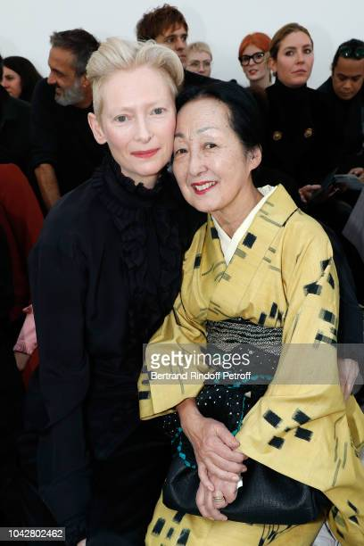 Actress Tilda Swinton and Setsuko Klossowska De Rola attend the Haider Ackermann show as part of the Paris Fashion Week Womenswear Spring/Summer 2019...