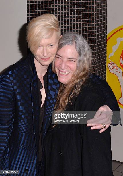 Actress Tilda Swinton and singersongwriter Patti Smith attend the Sony Pictures Classics' Only Lovers Left Alive screening hosted by The Cinema...