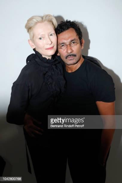 Actress Tilda Swinton and stylist Haider Ackermann pose after the Haider Ackermann show as part of the Paris Fashion Week Womenswear Spring/Summer...
