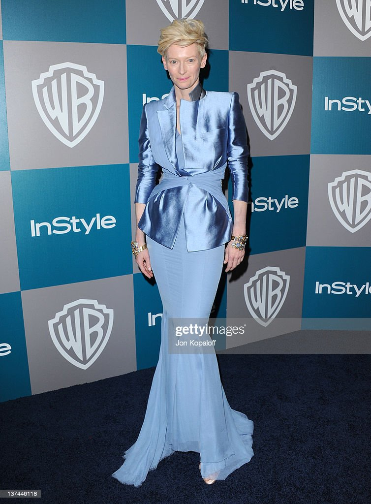 Actress Tilda Swinton arrives at the 13th Annual Warner Bros. And InStyle Golden Globe After Party held at The Beverly Hilton hotel on January 15, 2012 in Beverly Hills, California.