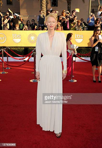 Actress Tilda Swinton arrives at the 18th Annual Screen Actors Guild Awards at The Shrine Auditorium on January 29 2012 in Los Angeles California