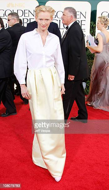 Actress Tilda Swinton arrives at the 68th Annual Golden Globe Awards held at The Beverly Hilton hotel on January 16 2011 in Beverly Hills California