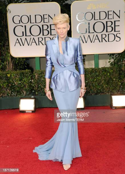 Actress Tilda Swinton arrives at the 69th Annual Golden Globe Awards held at the Beverly Hilton Hotel on January 15 2012 in Beverly Hills California