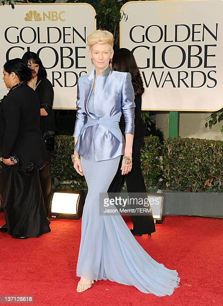 Actress Tilda Swinton arrives at the 69th Annual Golden Globe Awards held at the Beverly Hilton Hotel on January 15, 2012 in Beverly Hills,...