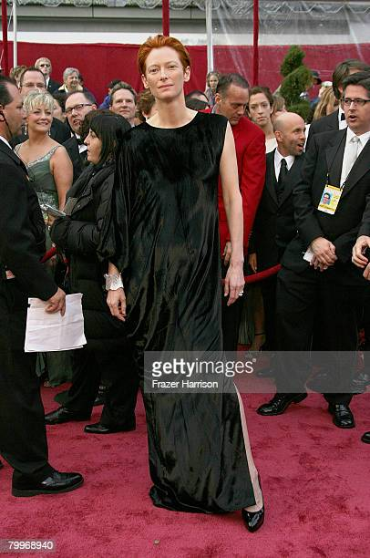 Actress Tilda Swinton arrives at the 80th Annual Academy Awards held at the Kodak Theatre on February 24, 2008 in Hollywood, California.
