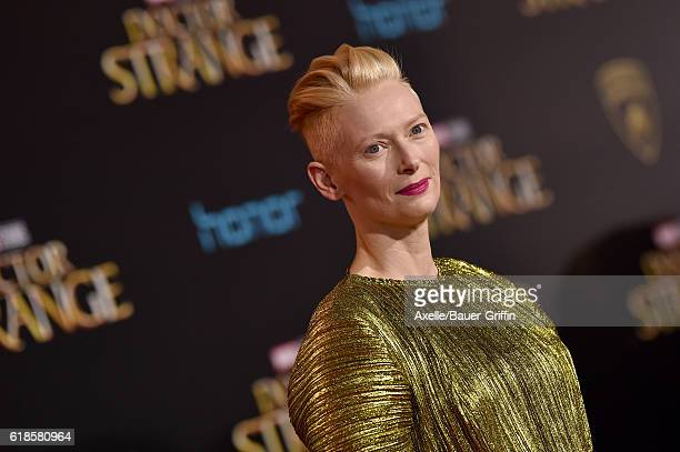 Actress Tilda Swinton arrives at the Los Angeles Premiere of 'Doctor Strange' on October 20 2016 in Hollywood California