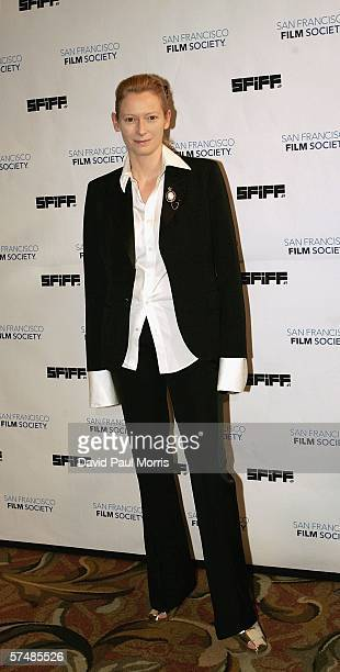 Actress Tilda Swinton arrives at the San Francisco International Film Festival awards ceremony at the St Francis Hotel on April 27 2006 in San...