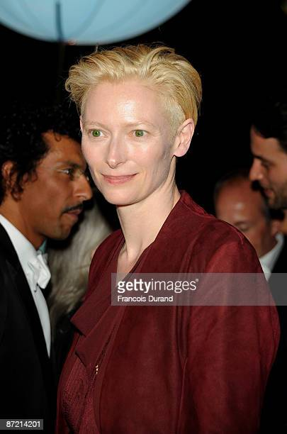 Actress Tilda Swinton arrives at the 'Up' Party at the Carlton Beach during the 62nd International Cannes Film Festival on May 13 2009 in Cannes...
