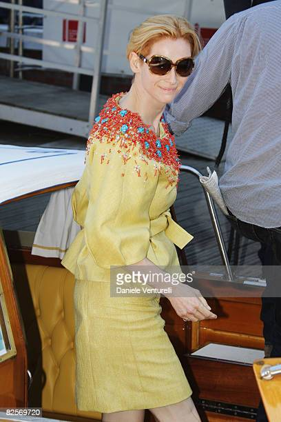 Actress Tilda Swinton arrives by boat ahead of the Burn After Reading photocall during the 65th Venice Film Festival at the Casino Darsena on August...