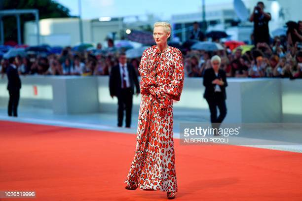 TOPSHOT Actress Tilda Swinton arrives for the premiere of the film At Eternity's Gate presented in competition on September 3 2018 during the 75th...