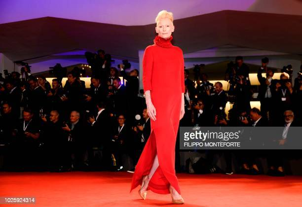 Actress Tilda Swinton arrives for the premiere of the film Suspiria presented in competition on September 1 2018 during the 75th Venice Film Festival...