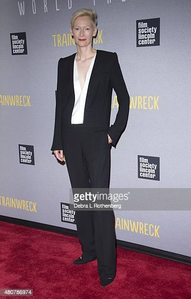 Actress Tilda Swinton at the New York Premiere of Trainwreck at Alice Tully Hall on July 14 2015 in New York City