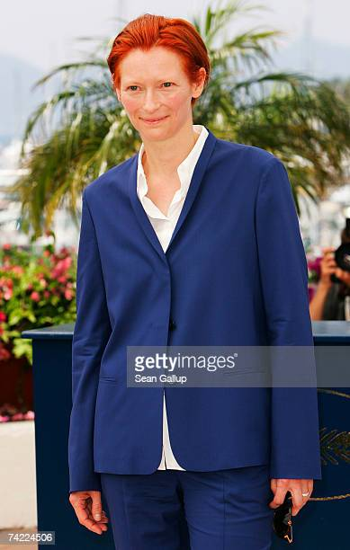 Actress Tilda Swinton attends a photocall promoting the film 'The Man from London' at the Palais des Festivals during the 60th International Cannes...