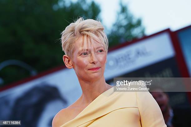 Actress Tilda Swinton attends a premiere for 'A Bigger Splash' during the 72nd Venice Film Festival at Sala Grande on September 6 2015 in Venice Italy