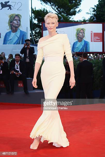 Actress Tilda Swinton attends a premiere for 'A Bigger Splash' during the 72nd Venice Film Festival at Sala Grande on September 6, 2015 in Venice,...