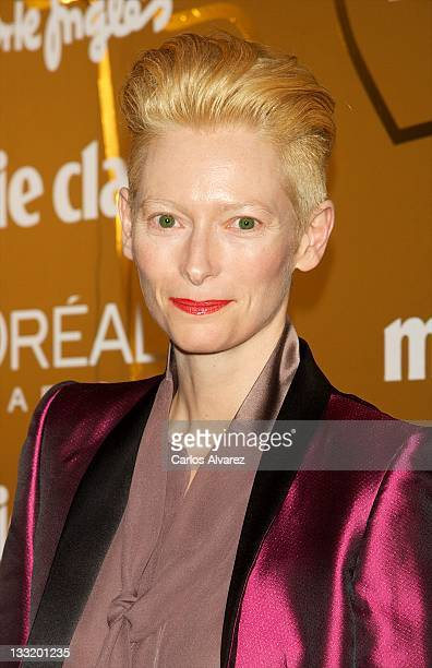 Actress Tilda Swinton attends Marie Claire Prix de la Moda awards 2011 at French Embassy on November 17 2011 in Madrid Spain