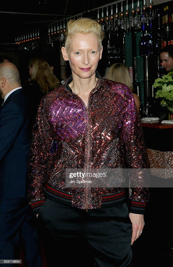 Actress Tilda Swinton attends the after party for the screening of 'A Bigger Splash' hosted by Fox Searchlight Pictures with The Cinema Society at Sant Ambroeus on April 21, 2016 in New York City.