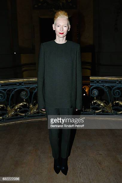 Actress Tilda Swinton attends the Berluti Menswear Fall/Winter 20172018 show as part of Paris Fashion Week on January 20 2017 in Paris France