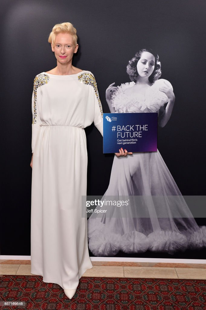 Actress Tilda Swinton attends the BFI Luminous Fundraising Gala at The Guildhall on October 3, 2017 in London, England.