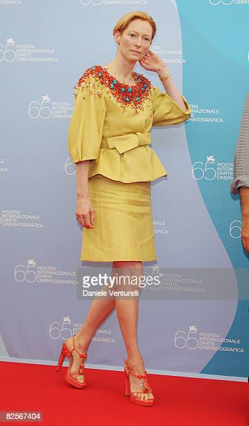 Actress Tilda Swinton attends the Burn After Reading photocall during the 65th Venice Film Festival held at the Piazzale del Casino on August 27 2008...