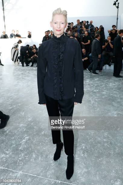 Actress Tilda Swinton attends the Haider Ackermann show as part of the Paris Fashion Week Womenswear Spring/Summer 2019 on September 29, 2018 in...