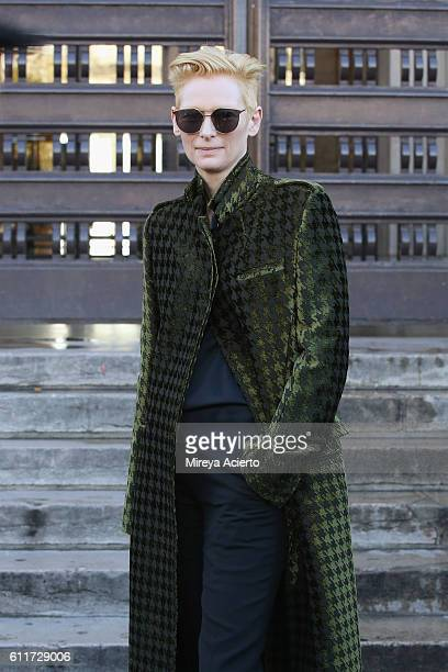 Actress Tilda Swinton attends the Haider Ackermann show as part of the Paris Fashion Week Womenswear Spring/Summer 2017 on October 1 2016 in Paris...
