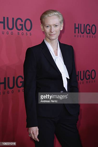 Actress Tilda Swinton attends the Hugo Boss Show during the Mercedes Benz Fashion Week Autumn/Winter 2011 at Neue Nationalgalerie on January 20 2011...