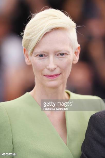 Actress Tilda Swinton attends the 'Okja' photocall during the 70th annual Cannes Film Festival at Palais des Festivals on May 19 2017 in Cannes France