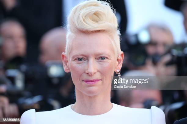 Actress Tilda Swinton attends the 'Okja' screening during the 70th annual Cannes Film Festival at Palais des Festivals on May 19 2017 in Cannes France