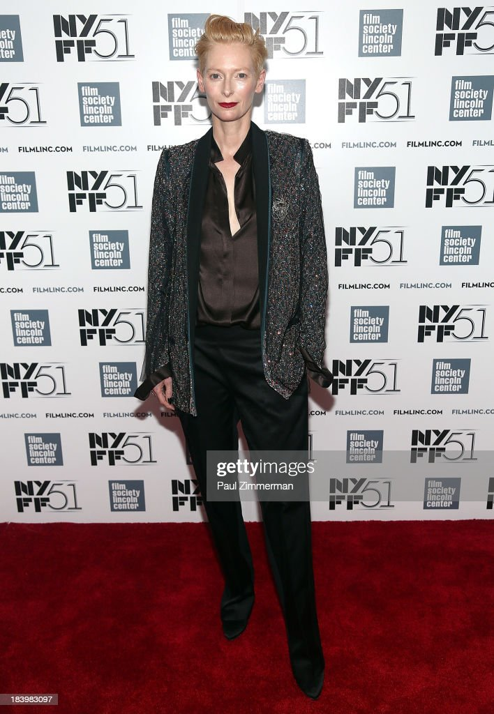 Actress Tilda Swinton attends the 'Only Lovers Left Alive' Premiere during the 51st New York Film Festival at Alice Tully Hall at Lincoln Center on October 10, 2013 in New York City.