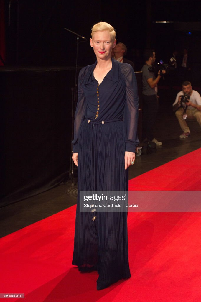 Actress Tilda Swinton attends the Opening Ceremony of the 9th Film Festival Lumiere on October 14, 2017 in Lyon, France.