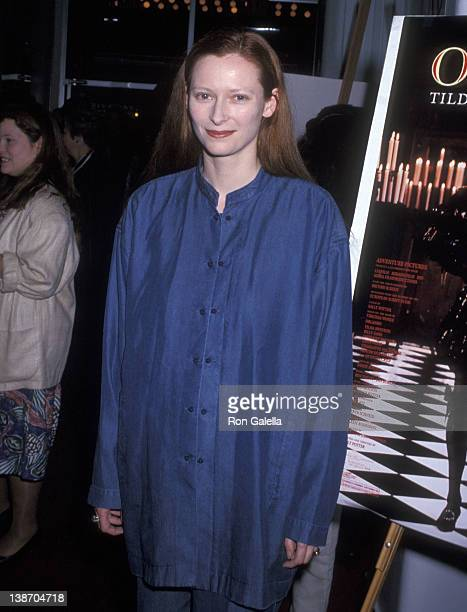 Actress Tilda Swinton attends the 'Orlando' New York City Premiere on June 2 1993 at the Angelika 57 in New York City