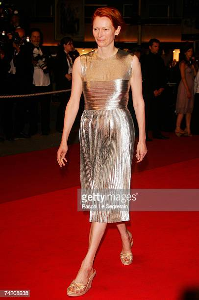 """Actress Tilda Swinton attends the premiere for the film """"Paranoid Park"""" at the Palais des Festivals during the 60th International Cannes Film..."""