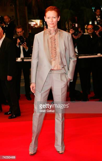 Actress Tilda Swinton attends the premiere for the film 'The Man from London' at the Palais des Festivals during the 60th International Cannes Film...