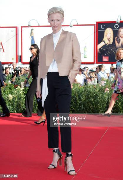Actress Tilda Swinton attends the 'South Of The Border' Premiere at the Sala Grande during the 66th Venice Film Festival on September 7 2009 in...