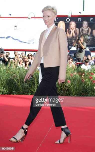 Actress Tilda Swinton attends the South Of The Border Premiere at the Sala Grande during the 66th Venice Film Festival on September 7 2009 in Venice...