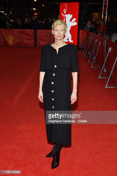 Actress Tilda Swinton attends the The Souvenir premiere during the 69th Berlinale International Film Festival Berlin at Zoo Palast on February 12...