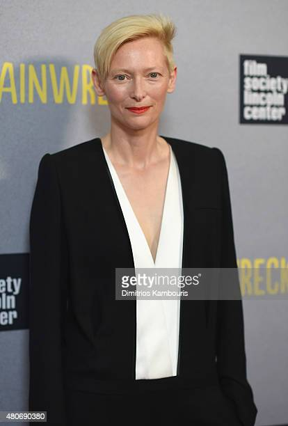 Actress Tilda Swinton attends the Trainwreck New York Premiere at Alice Tully Hall on July 14 2015 in New York City