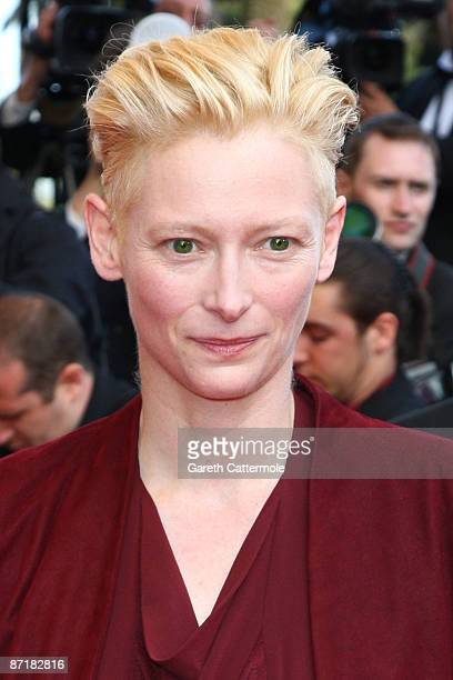 Actress Tilda Swinton attends the 'Up' Premiere at the Palais De Festival during the 62nd International Cannes Film Festival on May 13 2009 in Cannes...