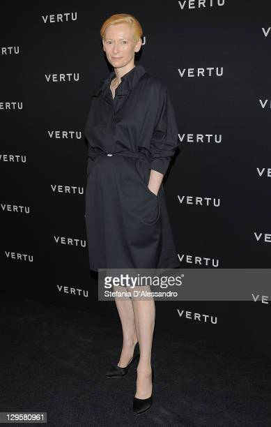 Actress Tilda Swinton attends the Vertu Global Launch Of The 'Constellation' at Palazzo Serbelloni on October 18, 2011 in Milan, Italy