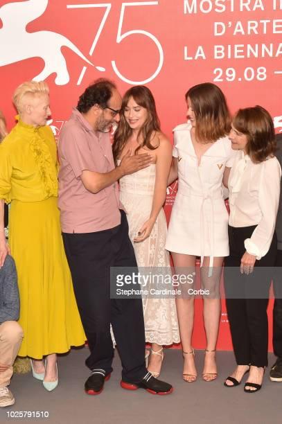 Actress Tilda Swinton director Luca Guadagnino actress Dakota Johnson actress Mia Goth and actress Jessica Harper attend 'Suspiria' photocall during...