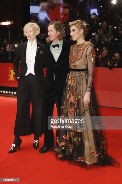 Actress Tilda Swinton director Wes Anderson and actress Greta Gerwig attend the Opening Ceremony 'Isle of Dogs' premiere during the 68th Berlinale...