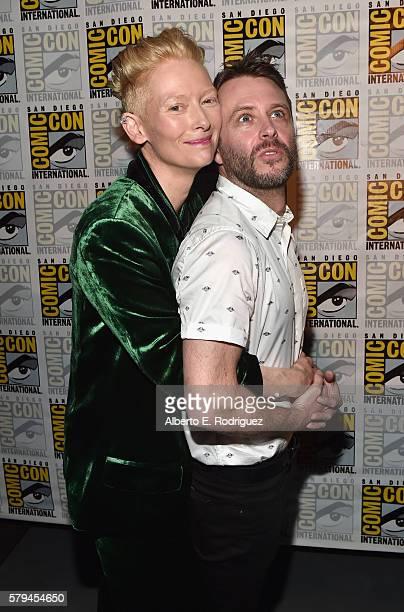 "Actress Tilda Swinton from Marvel Studios' Doctor Strange"" and moderator Chris Hardwick attend the San Diego ComicCon International 2016 Marvel Panel..."