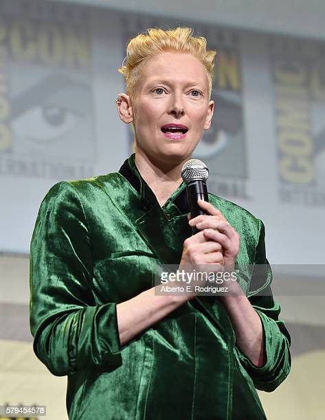 """Actress Tilda Swinton from Marvel Studios' 'Doctor Strange"""" attends the San Diego ComicCon International 2016 Marvel Panel in Hall H on July 23 2016..."""
