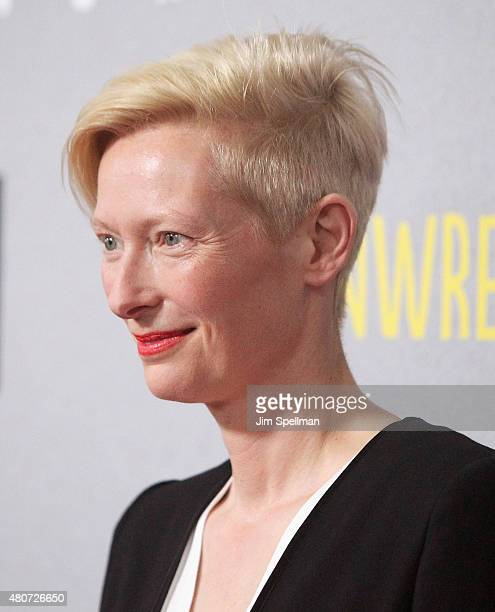 Actress Tilda Swinton hair detail attends the Trainwreck New York premiere at Alice Tully Hall on July 14 2015 in New York City