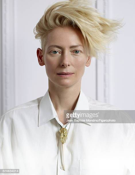 Actress Tilda Swinton is photographed for Madame Figaro on February 6 2016 in Paris France Shirt necklace PUBLISHED IMAGE CREDIT MUST READ...