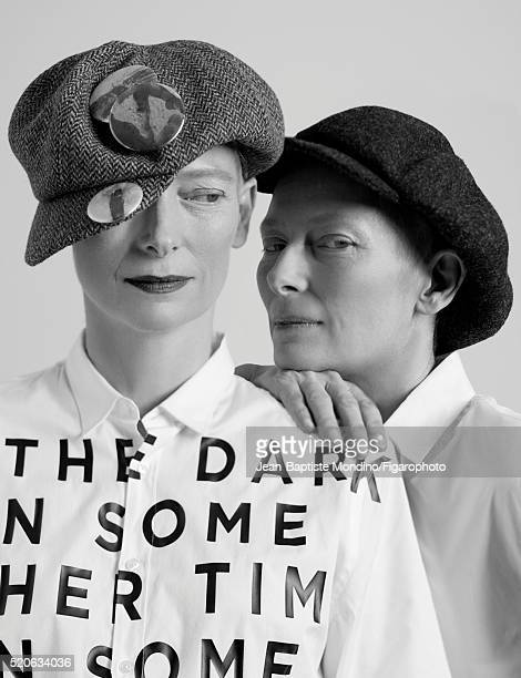Actress Tilda Swinton is photographed for Madame Figaro on February 6 2016 in Paris France Left Shirt cap pins Right Shirt cap PUBLISHED IMAGE CREDIT...