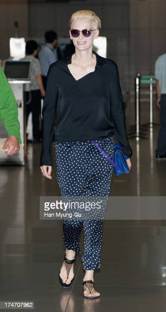 Actress Tilda Swinton is seen upon arrival at Incheon International Airport on July 28 2013 in Incheon South Korea